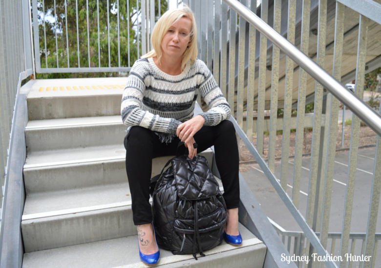 Sydney Fashion HUnter OOTD - Black Skinny Jeans, Black & White Sweater, Electric Blue Pumps, Black Backpack