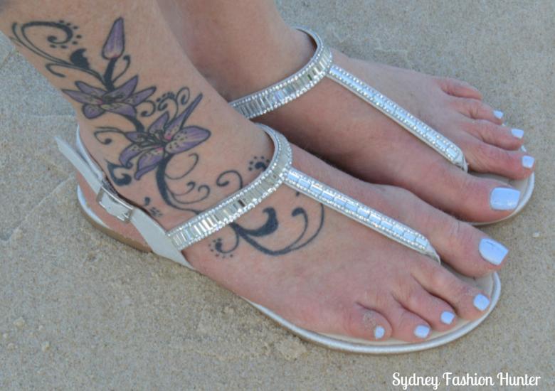 London Rebel Muso Soft Gold Sandals, Surfers Paradise Beach