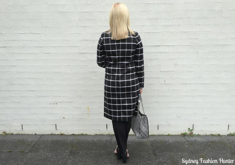 Sydney Fashion Hunter: Fresh Fashion Forum 32 Black & White Check Coat Outfit - Back