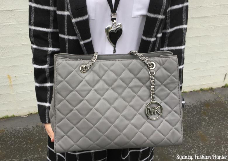 Sydney Fashion Hunter: Fresh Fashion Forum 32 Black & White Check Coat Outfit - Black & Silver Heart Pendant & Michael Kors Grey Quilted Bag