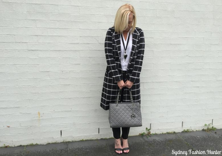 Sydney Fashion Hunter: Fresh Fashion Forum 32 Black & White Check Coat Outfit - Front