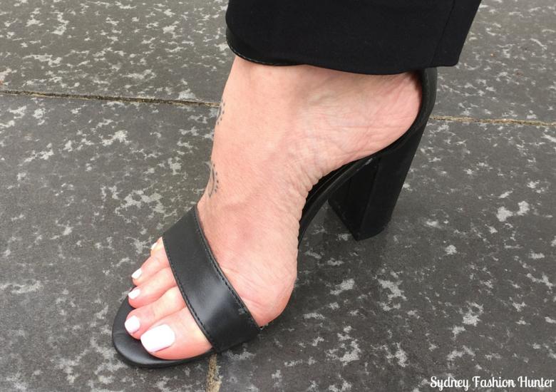 Sydney Fashion Hunter: Fresh Fashion Forum 32 Black & White Check Coat Outfit - Pied A Terre Mamie Sandal