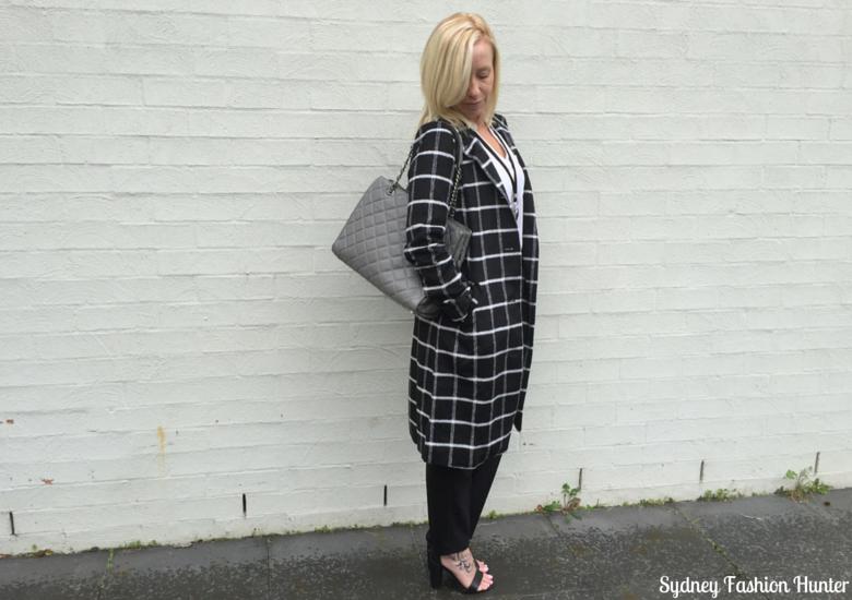 Sydney Fashion Hunter: Fresh Fashion Forum 32 Monochrome Check Coat Outfit - Side