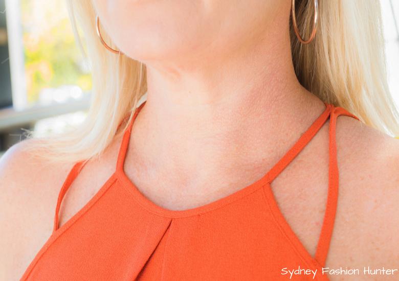 Fash Packing by Sydney Fashion Hunter: Fresh Fashion Forum 48 - Bright Yellow Wool Coat Orange Halter Top Detail
