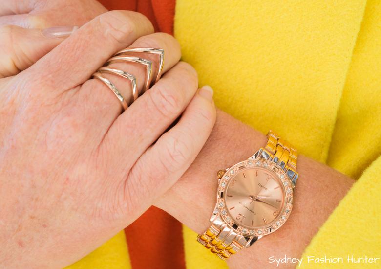 Fash Packing by Sydney Fashion Hunter: Fresh Fashion Forum 48 - Bright Yellow Wool Coat Rose Gold Watch & Ring