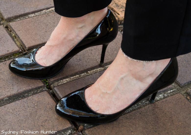 Fash Packing by Sydney Fashion Hunter_ Fresh Fashion Forum 49 Olive Cowl Neck Top - Patent Black Prada Almond Toe Pumps