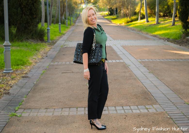 Fash Packing by Sydney Fashion Hunter_ Fresh Fashion Forum 49 Olive Cowl Neck Top - Side