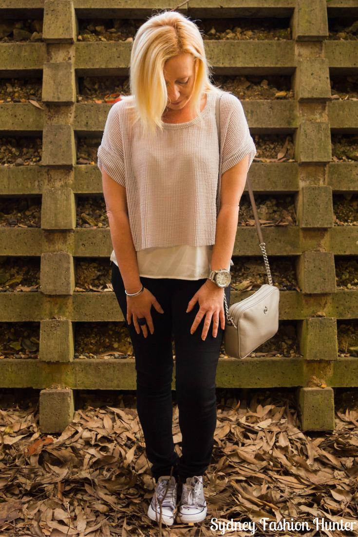 Sydney Fashion Hunter Fresh Fashion Form Link Up 50 : Grey Mesh Crop Top - True Religion Black Skinny Jeans, Zara Grey Mesh Crop Top. Michael Kors Grey Cross Body Bag, Grey Gradient Converse Sneakers, Mens Chrome Nixon Watch