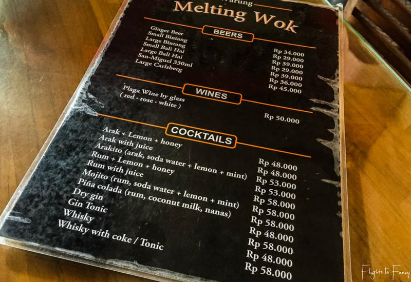The Melting Wok Ubud Menu - Drinks
