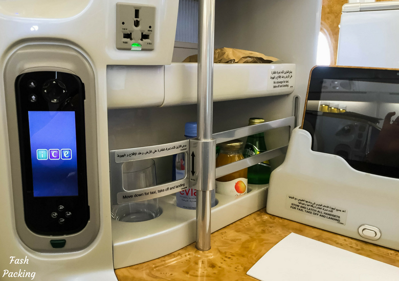 Fash Packing: Emirates A380 Business Class Review - Personal Bar & Electronics