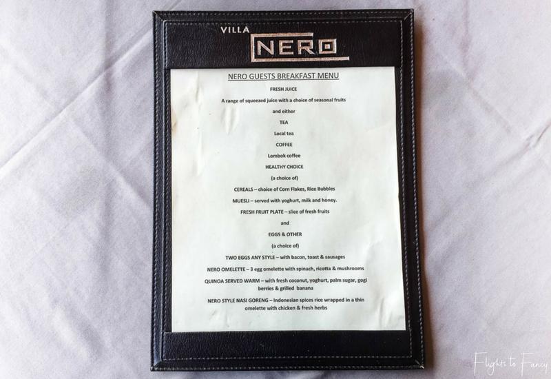 Breakfast menu Nero Gili T Villas