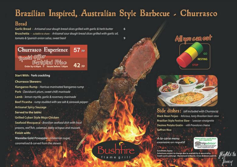 Flights To Fancy: Bushfire Flame Grill Cairns - Menu