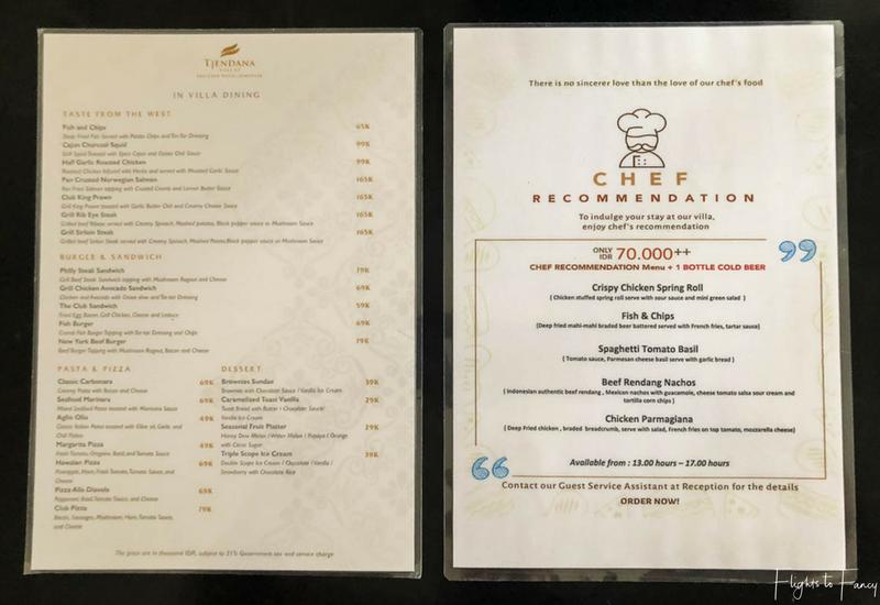 The Club Villas Seminyak: Room service menu in our private pool villa Bali