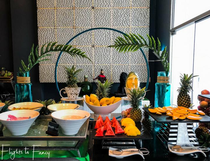 Fruit station at the breakfast buffet at Movenpick Beach Resort Mactan Island Cebu Philippines - Flights to Fancy