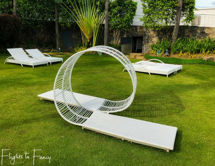 Unusual beach lounges at Movenpick Hotel Mactan Island one of the premier Cebu beach resorts - Flights to Fancy