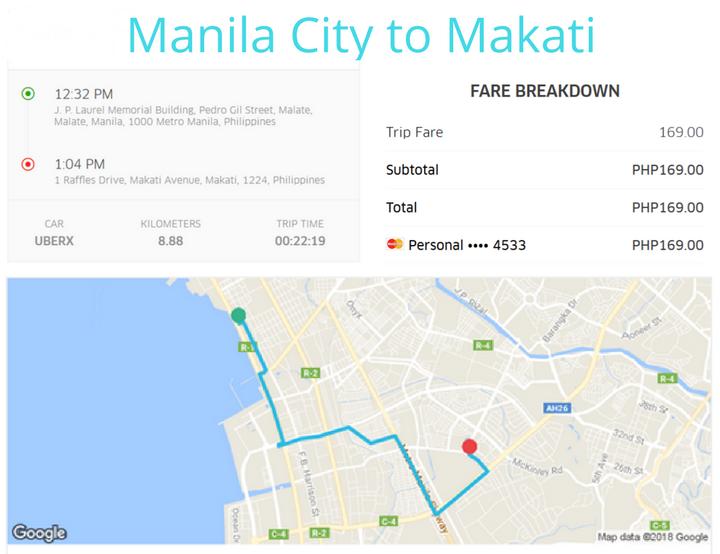 Using Uber In Manila. Uber Manila City to Makati