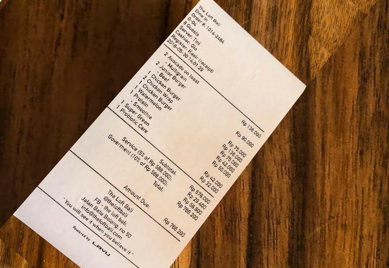 The Bill at The Loft Canggu Cafe
