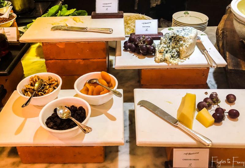 Cheese station at breakfast in Phnom Penh at Raffles Hotel Le Royal