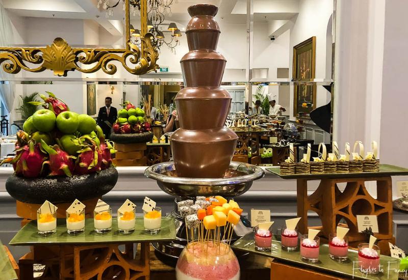 Chocolate Fountain at the premium Buffet brunch Phnom Penh Raffles Hotel Le Royal