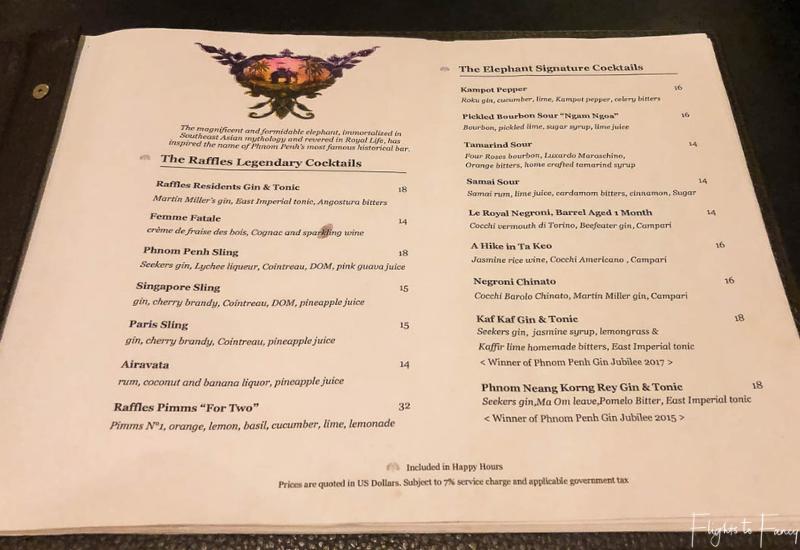 Cocktail menu Elephant Bar Raffles Hotel Le Royal Phnom Penh