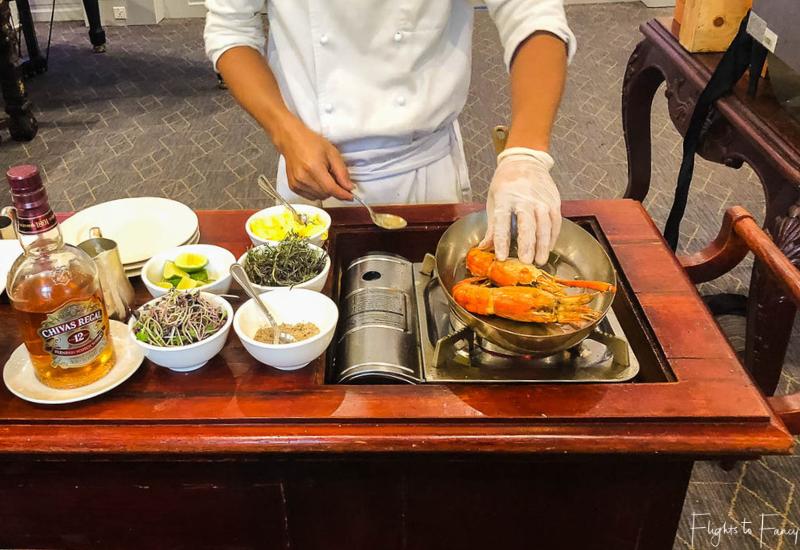 Cooked to order lobster is on the menu for brunch Phnom Penh Raffles Hotel Restaurant