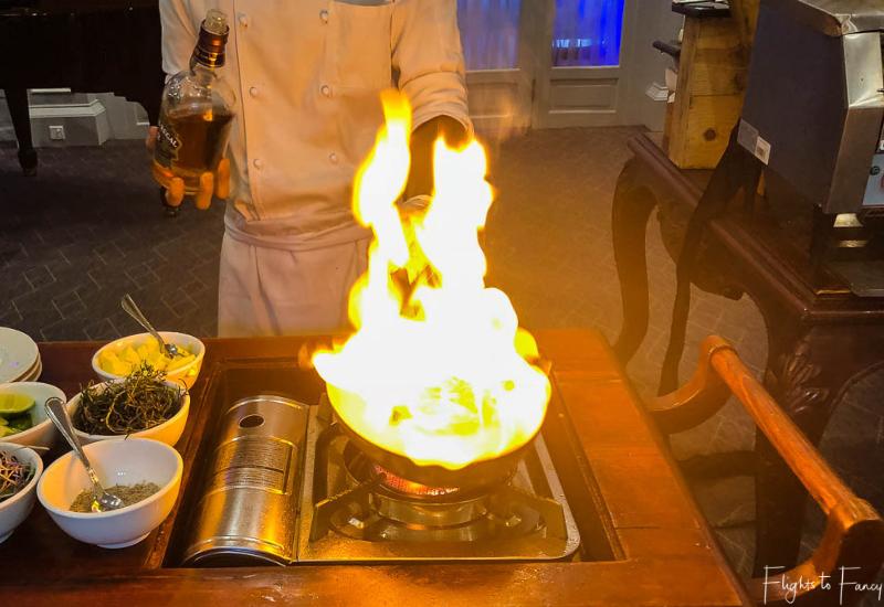 Flambe lobsters for brunch Phnom Penh Raffles Hotel Restaurant