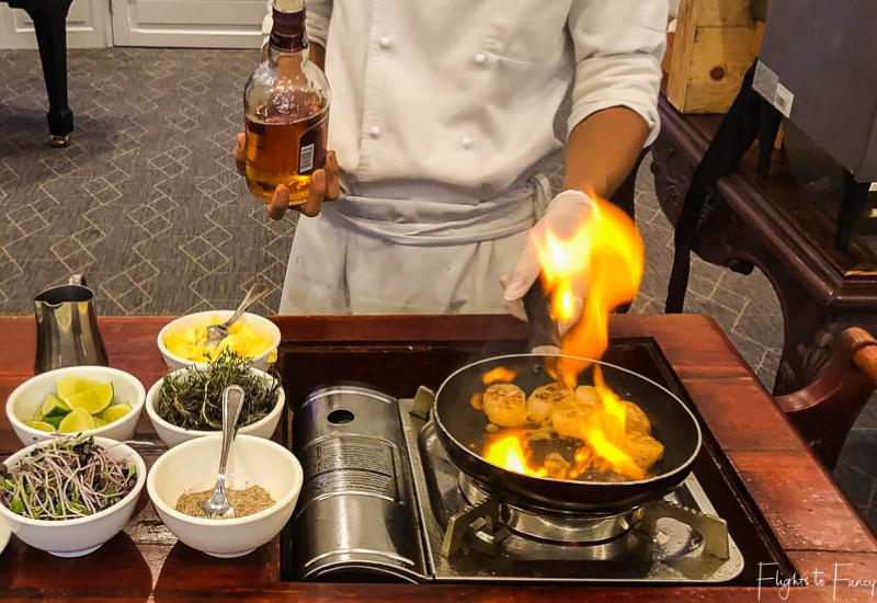 Flambe scallops for brunch Phnom Penh Raffles Hotel Restaurant