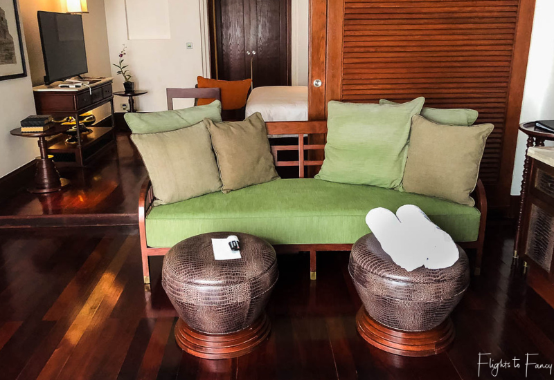 Living room in our suite at the Park Hyatt Hotel Siem Reap