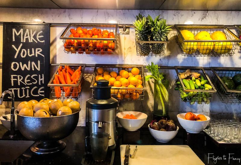 'Make Your Own Juice Bar' on the Siem Reap Breakfast Buffet at Park Hyatt Siem Reap Luxury Hotel