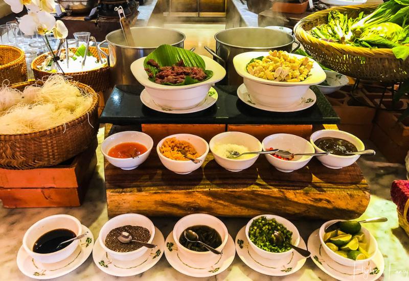 Noodle bar at breakfast in Phnom Penh at Raffles Hotel Le Royal