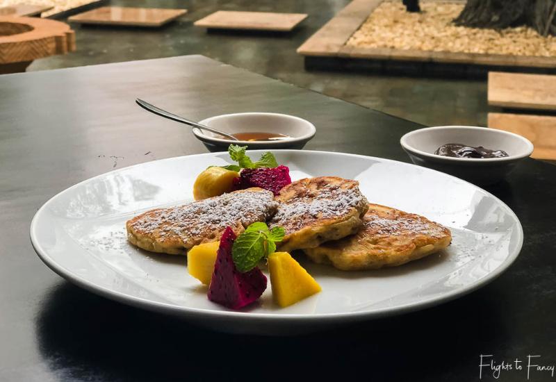 Park Hyatt Siem Reap Breakfast - Pancakes with chocolate sauce & syrup-1