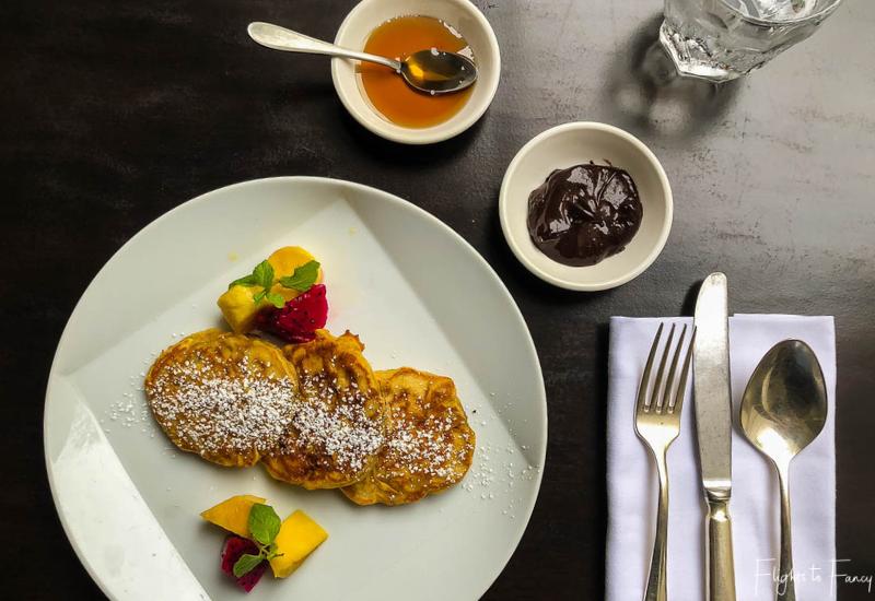Park Hyatt Siem Reap Breakfast - Pancakes with chocolate sauce & syrup