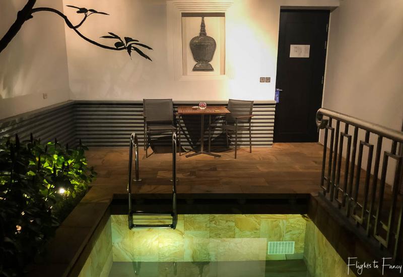 Private plunge pool in our luxury villa Siem Reap at night @ Park Hyatt