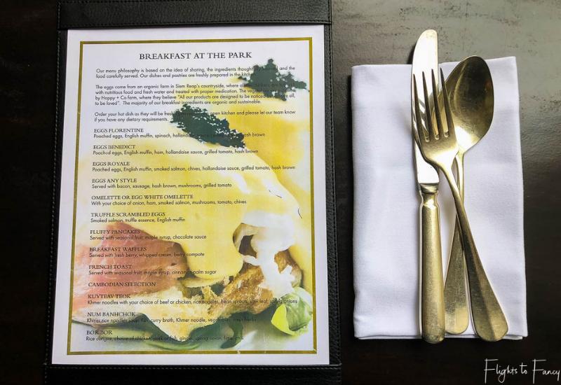 Siem Reap Breakfast Menu at the Park Hyatt