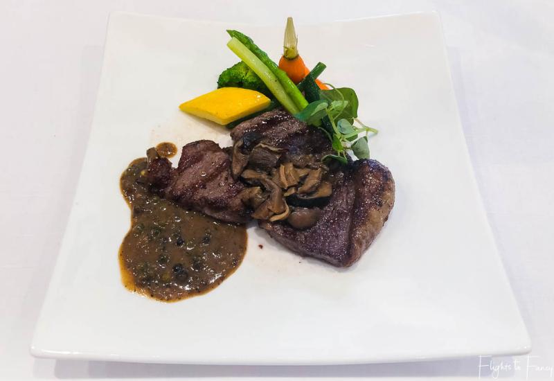 Steak from the a la carte brunch Phnom Penh Raffles Hotel Restaurant