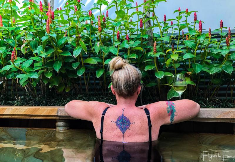 Wine in the private plunge pool at Park Hyatt Siem Reap