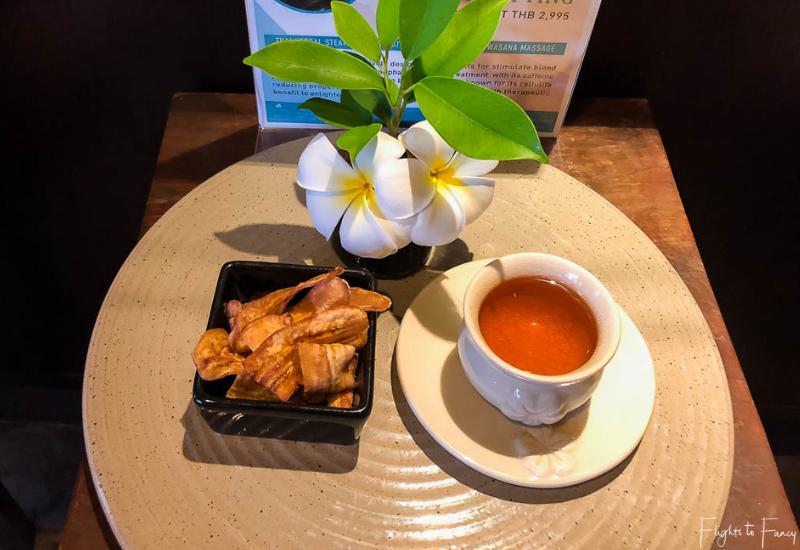 After massage tea and snacks at Swasana Spa Impiana Resort Chaweng Noi Koh Samui