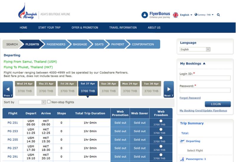 Bangkok Airways booking