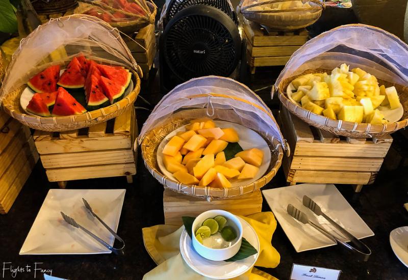 Breakfast fruit buffet at Sabai Restaurant Impiana Koh Samui luxury hotel
