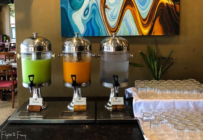 Breakfast juices at Sabai Restaurant Impiana Resort Chaweng Noi