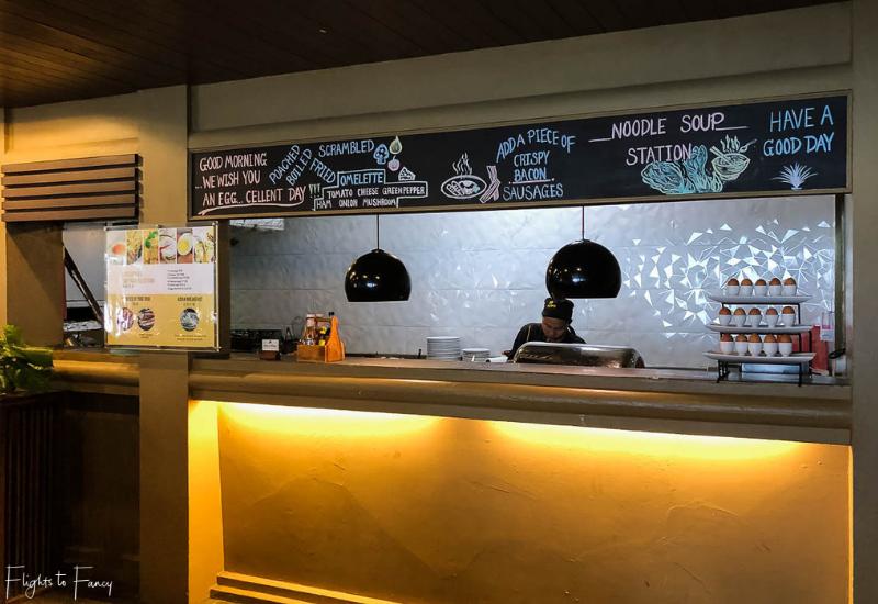 Breakfast noodle bar at Sabai Restaurant Impiana Koh Samui luxury hotel