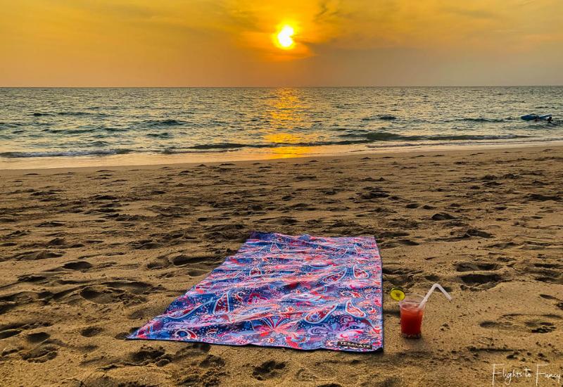 Cocktail & Cosmic Dream Tesalate Beach Towel at Sunset on Pra-Ae Beach Koh Lanta