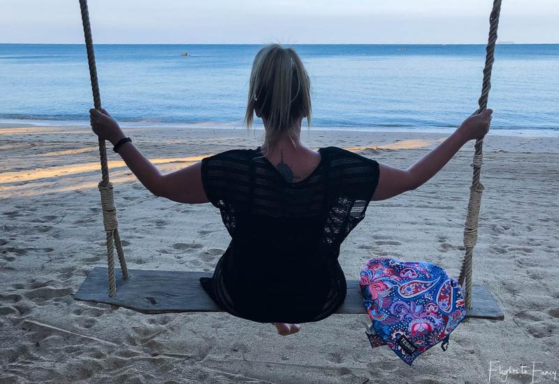 Swinging in Koh Lanta with my Tesalate Beach Towel
