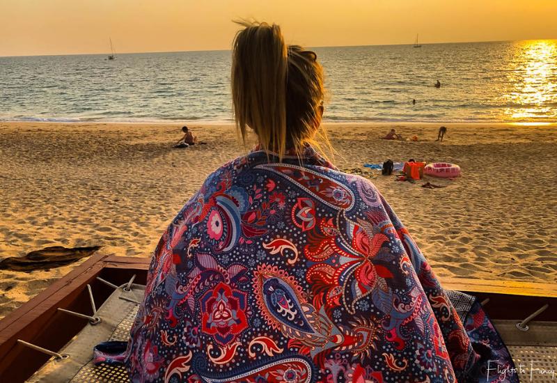 Tesalate Beach Towel in Cosmic Dream at sunset on Pra-Ae Beach Koh Lanta Thailand