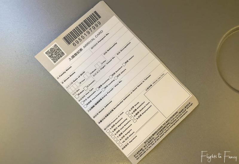 Taiwan Entry Card