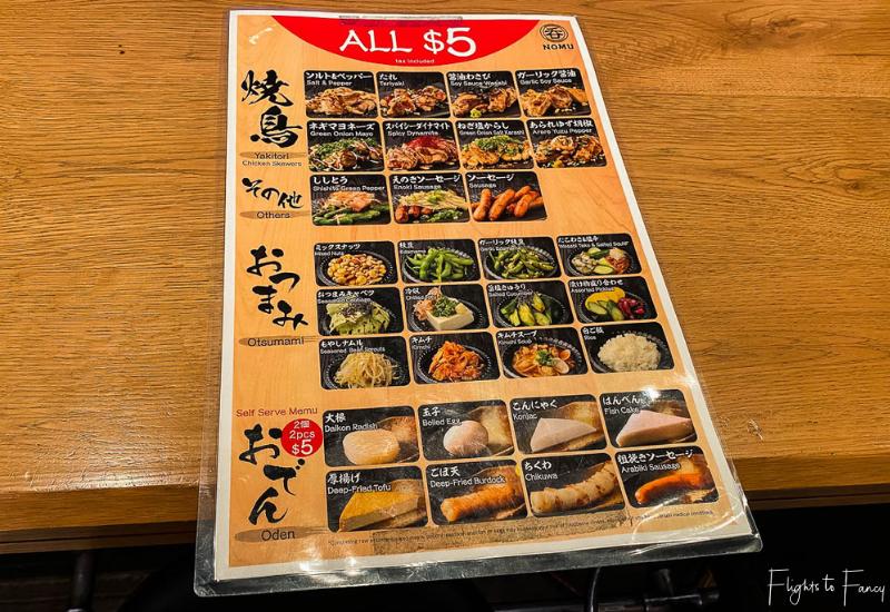 Waikiki Yokocho - Nomu $5 Menu